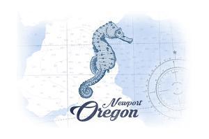 Newport, Oregon - Seahorse - Blue - Coastal Icon by Lantern Press