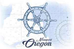 Newport, Oregon - Ship Wheel - Blue - Coastal Icon by Lantern Press