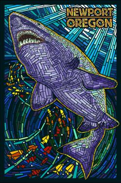 Newport, Oregon - Tiger Shark Mosaic by Lantern Press