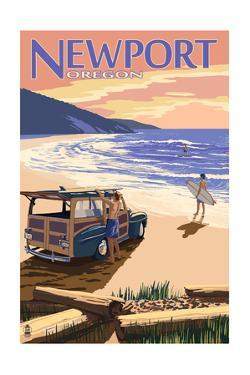 Newport, Oregon - Woody on Beach by Lantern Press