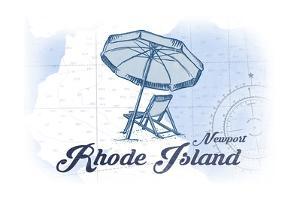 Newport, Rhode Island - Beach Chair and Umbrella - Blue - Coastal Icon by Lantern Press