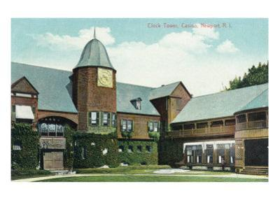 Newport, Rhode Island, Exterior View of the Casino and of the Clock Tower by Lantern Press