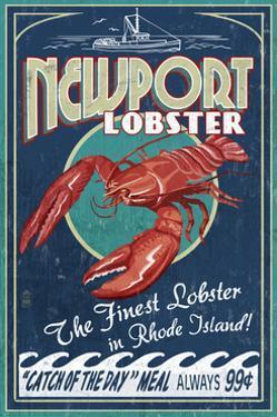 Newport, Rhode Island - Lobster Vintage Sign by Lantern Press