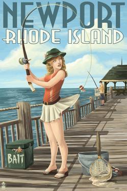 Newport, Rhode Island - Pinup Girl Fishing by Lantern Press