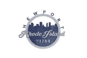 Newport, Rhode Island - Skyline Seal (Blue) by Lantern Press