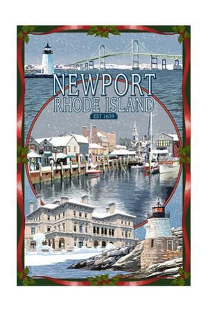Newport, Rhode Island - Winter Montage Scenes by Lantern Press