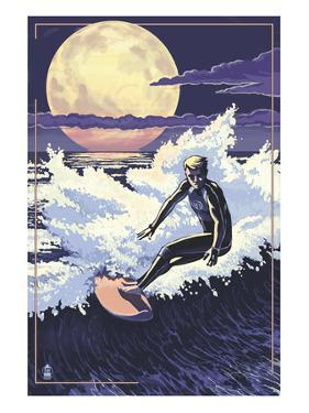 Night Surfer and Moon by Lantern Press