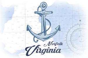 Norfolk, Virginia - Anchor - Blue - Coastal Icon by Lantern Press