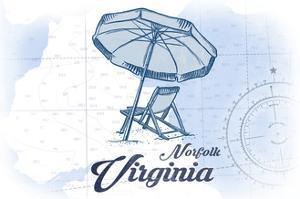 Norfolk, Virginia - Beach Chair and Umbrella - Blue - Coastal Icon by Lantern Press