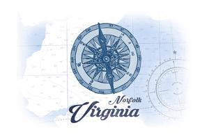 Norfolk, Virginia - Compass - Blue - Coastal Icon by Lantern Press