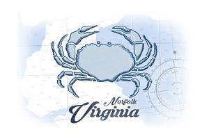 Norfolk, Virginia - Crab - Blue - Coastal Icon by Lantern Press