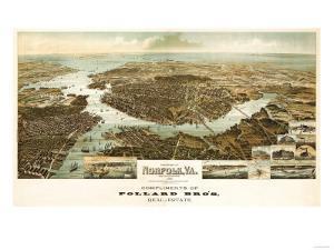 Norfolk, Virginia - Panoramic Map by Lantern Press