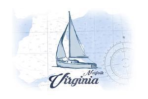 Norfolk, Virginia - Sailboat - Blue - Coastal Icon by Lantern Press