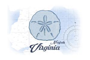 Norfolk, Virginia - Sand Dollar - Blue - Coastal Icon by Lantern Press