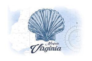 Norfolk, Virginia - Scallop Shell - Blue - Coastal Icon by Lantern Press