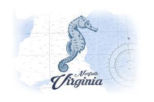 Norfolk, Virginia - Seahorse - Blue - Coastal Icon by Lantern Press