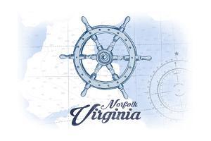 Norfolk, Virginia - Ship Wheel - Blue - Coastal Icon by Lantern Press