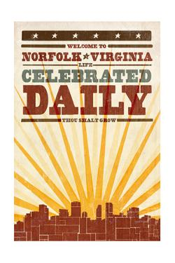 Norfolk, Virginia - Skyline and Sunburst Screenprint Style by Lantern Press
