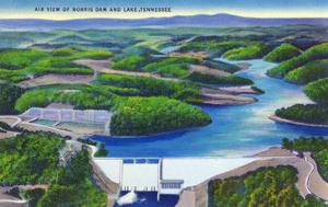 Norris, Tennessee - Aerial View of Norris Dam and Norris Lake by Lantern Press