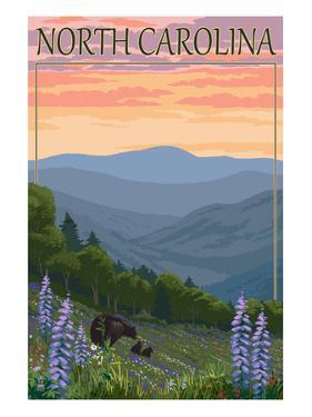 North Carolina - Bear and Cubs with Spring Flowers by Lantern Press