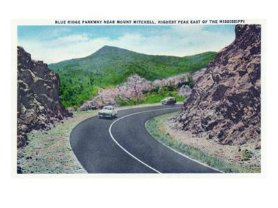 North Carolina - Blue Ridge Parkway, View of the Parkway Near Mount Mitchell by Lantern Press