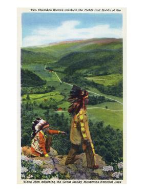 North Carolina - Cherokee Men Overlooking Fields near Great Smoky Mt. Nat'l Park by Lantern Press