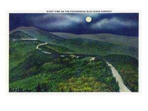 North Carolina - Moonlight Scene on the Picturesque Blue Ridge Parkway by Lantern Press