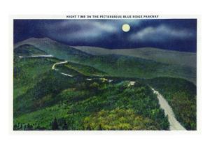 North Carolina - Moonlight Scene on the Picturesque Blue Ridge Parkway by Lantern Press