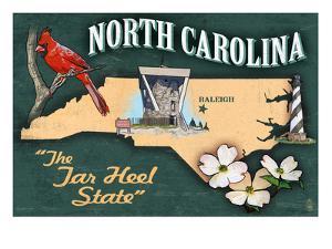 North Carolina - State Icons by Lantern Press
