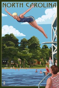 North Carolina - Woman Diving and Lake by Lantern Press