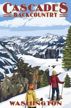 North Cascades, Washington - Showshoer Scene by Lantern Press