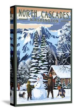 North Cascades, Washington - Snowman Building by Lantern Press