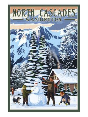 North Cascades, Washington - Snowman Building by Lantern Press