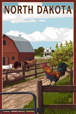 North Dakota - Barnyard Scene by Lantern Press