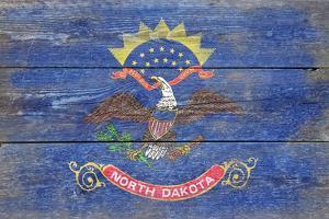 North Dakota State Flag - Barnwood Painting by Lantern Press
