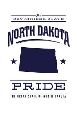 North Dakota State Pride - Blue on White by Lantern Press