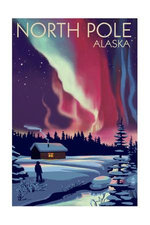 North Pole, Alaska - Northern Lights and Cabin by Lantern Press