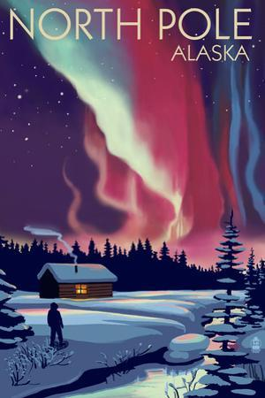 North Pole, Alaska - Northern Lights and Cabin by Lantern Press
