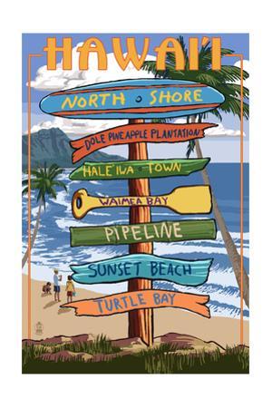 North Shore, Oahu, Hawaii - Sign Destinations by Lantern Press