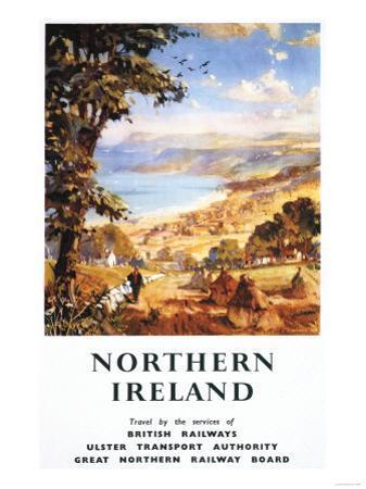 Northern Ireland - Pastoral Scene Man and Dog British Railways Poster by Lantern Press