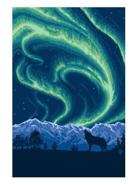 Northern Lights and Wolf by Lantern Press