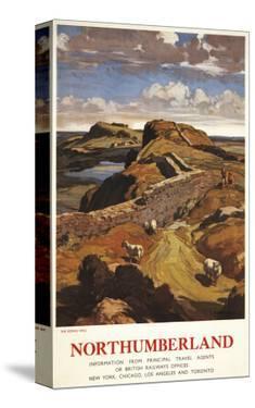 Northumberland, England - Hadrian's Wall and Sheep British Rail Poster by Lantern Press