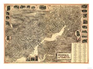 Norwalk, Connecticut - Panoramic Map by Lantern Press