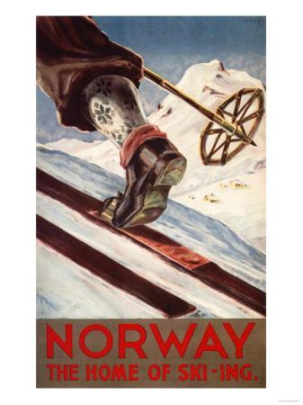 Norway - The Home of Skiing by Lantern Press