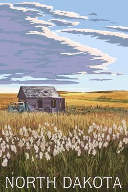 Nouth Dakota - Wheat Field and Shack by Lantern Press