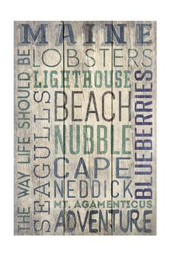 Nubble - Maine - Barnwood Typography by Lantern Press