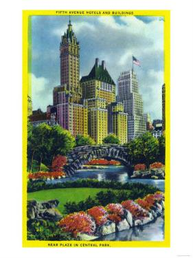 NYC, New York - Central Park Plaza View of 5th Ave Hotels and Bldgs by Lantern Press