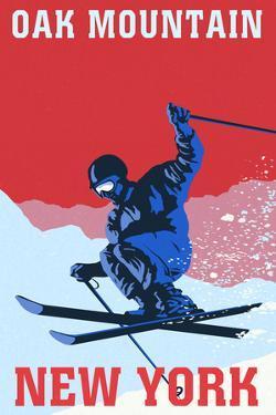 Oak Mountain - Speculator, New York - Colorblocked Skier by Lantern Press