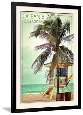 Ocean Beach, California - Lifeguard Shack and Palm by Lantern Press