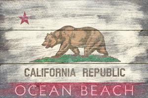 Ocean Beach, California - State Flag - Barnwood Painting by Lantern Press